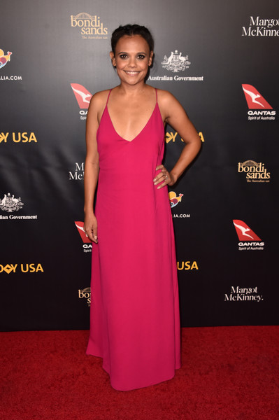 16th Annual G'Day USA Los Angeles Gala - Arrivals [dress,clothing,red carpet,carpet,premiere,shoulder,hairstyle,fashion,pink,flooring,arrivals,miranda tapsell,gday usa,los angeles,usa,culver city,california,3labs]