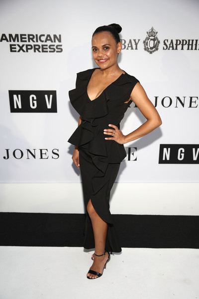 NGV Gala 2018 - Arrivals [clothing,dress,little black dress,shoulder,cocktail dress,fashion,hairstyle,fashion model,joint,footwear,arrivals,miranda tapsell,ngv gala,melbourne,australia,national gallery of victoria,ngv gala 2018]