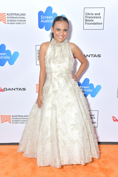 'Top End Wedding' Screening - 2019 Australian Screen Forum [dress,clothing,gown,red carpet,carpet,shoulder,hairstyle,fashion,fashion model,flooring,miranda tapsell,screen forum,screening,australian,elinor bunin munroe film center,new york city,top end wedding,australian screen forum]