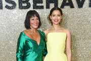 """(L-R) Miss World 1970 Jennifer Hosten and Gugu Mbatha-Raw attend the """"Misbehaviour"""" World Premiere at The Ham Yard Hotel on March 09, 2020 in London, England."""
