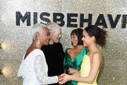 """(L-R) Runner-Up Miss World 1970 Pearl Jansen, Director Philippa Lowthorpe, Miss World 1970 Jennifer Hosten and Gugu Mbatha-Raw attend the """"Misbehaviour"""" World Premiere at The Ham Yard Hotel on March 09, 2020 in London, England."""