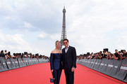 Executive Producer David Ellison and his wife Sandra Lynn Modic attend the Global Premiere of 'Mission: Impossible - Fallout' at Palais de Chaillot on July 12, 2018 in Paris, France.