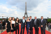 Dana Goldberg (2L), Sandra Lynn Modic (4L), David Ellison, Don Granger and Brad Carlson attend the Global Premiere of 'Mission: Impossible - Fallout' at Palais de Chaillot on July 12, 2018 in Paris, France.