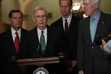 Mitch McConnell Senate Lawmakers Address The Media After Their Weekly Policy Luncheons