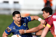 Sio Tomkinson of Otago  is tackled by James Wilson of Southland  during the round five Mitre 10 Cup match between Southland and Otago at Rugby Park Stadium on September 15, 2018 in Invercargill, New Zealand.
