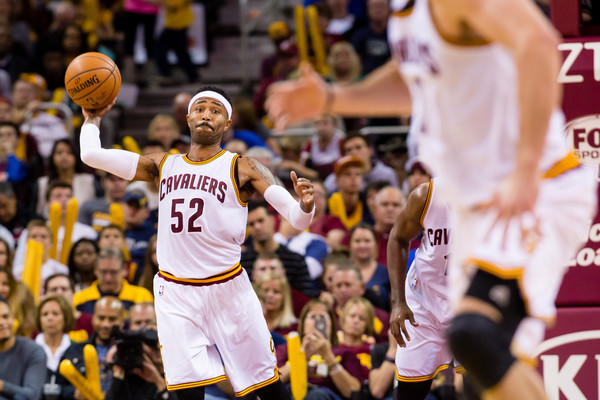 Indiana Pacers v Cleveland Cavaliers [photograph,basketball,sports,team sport,basketball player,ball game,player,basketball moves,tournament,fan,mo williams,user,kevin love,note,court pass,cleveland,cleveland cavaliers,indiana pacers,half]