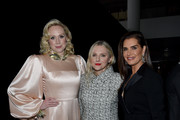 (L-R) Gwendoline Christie, Laura Brown, and Brooke Shields attend MoMA's Twelfth Annual Film Benefit Presented By CHANEL Honoring Laura Dern on November 12, 2019 in New York City.