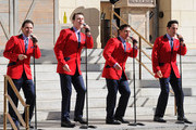 """(L-R) Travis Cloer, Rob Marnelle, Deven May and Jeff Leibow of """"The Jersey Boys"""" perform at the grand opening of The Mob Museum February 14, 2012 in Las Vegas, Nevada. The museum, also known as the National Museum of Organized Crime and Law Enforcement, chronicles the history of organized crime in America and the efforts of law enforcement to combat it."""