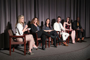 """(L-R) Ali Larter, Kristi Jacobson, Ellen Latham, Kevin Keith, Kristen Rictchotte, and Joe Oniwor speak onstage during """"Momentum Shift"""" Film Premiere Highlights Orangetheory's Inspiring, Female Founder Story And Other Tales Of The Power Of Community at Directors Guild Of America on October 21, 2019 in Los Angeles, California."""