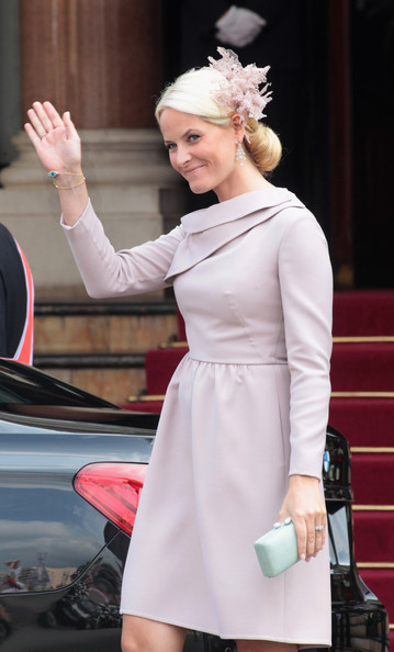 Princess Mette-Marit of Norway is seen leaving the Hotol de Paris to attend the religious ceremony of the Royal Wedding of Prince Albert II of Monaco to Charlene Wittstock in the main courtyard on July 2, 2011 in Monaco, Monaco.