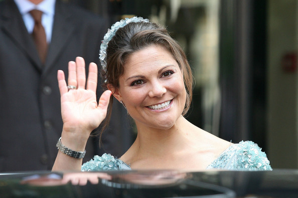 H.R.H. Crown Princess Victoria of Sweden leaves the 'Hermitage' hotel to attend the religious ceremony of the Royal Wedding of Prince Albert II of Monaco to Charlene Wittstock in the main courtyard on July 2, 2011 in Monaco, Monaco.