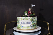 """A view of the cake at the Monkey 47 Gin Celebrates """"Shaken And Stirred"""" Podcast Launch With Nigel Barker And Tom Astor At The Wild Monkey on April 27, 2019 in New York City."""