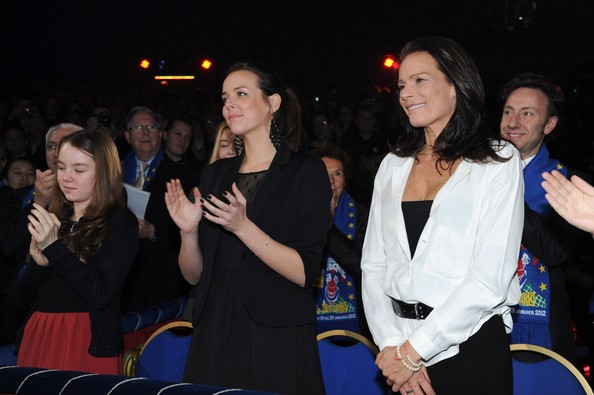 In this handout image provided by the Monaco Palace, Pauline Ducruet (C) and Princess Stephanie of Monaco attend the 36th Monte-Carlo International Circus Festival on January 21, 2012 in Monte-Carlo, Monaco.