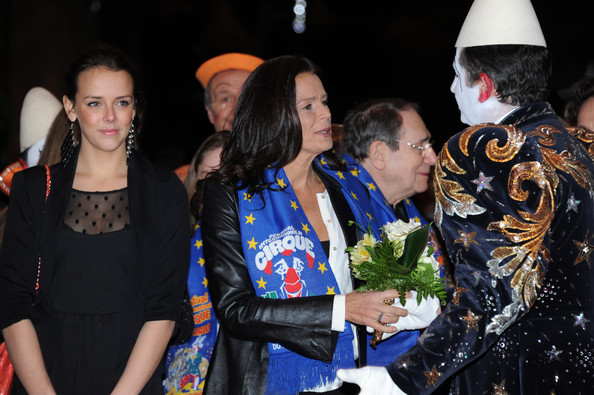 In this handout image provided by the Monaco Palace, Pauline Ducruet and Princess Stephanie of Monaco (C) attend the 36th Monte-Carlo International Circus Festival on January 21, 2012 in Monte-Carlo, Monaco.