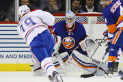 Jaroslav Halak #41 of the New York Islanders braces for a shot by Andrei Markov #79 of the Montreal Canadiens during the second period at the Barclays Center on October 26, 2016 in the Brooklyn borough of New York City.