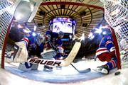 Henrik Lundqvist #30 of the New York Rangers watches Daniel Briere #48 of the Montreal Canadiens (not pictured) goal into the back of the net in Game Three of the Eastern Conference Final during the 2014 NHL Stanley Cup Playoffs at Madison Square Garden on May 22, 2014 in New York City.