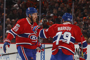 Nikita Nesterov #89 of the Montreal Canadiens celebrates his goal at 4:51 of the first period against the Philadelphia Flyers and is joined by Andrei Markov #79 at the Wells Fargo Center on February 2, 2017 in Philadelphia, Pennsylvania.