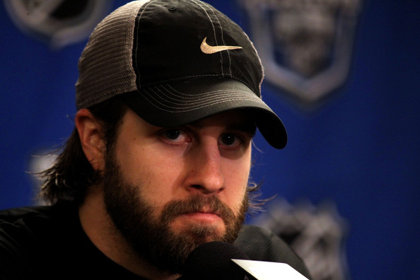 Simon Gagne of the Philadelphia Flyers talks to the media after defeating the Montreal Canadiens to win Game 1 of the Eastern Conference Finals by a score of 6-0 during the 2010 NHL Stanley Cup Playoffs at Wachovia Center on May 16, 2010 in Philadelphia, Pennsylvania.