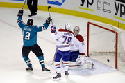 Patrick Marleau #12 of the San Jose Sharks celebrates after he scored on Carey Price #31 and Andrei Markov #79 of the Montreal Canadiens at SAP Center on March 2, 2015 in San Jose, California.