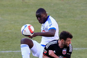 Bakary Soumare #5 of Montreal Impact and Chris Pontius #13 of D.C. United go after the ball during the first half at RFK Stadium on March 7, 2015 in Washington, DC.