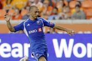 Marco Di Vaio #9 of the Montreal Impact prepares to put a shot on goal against the Houston Dynamo in the first half  at BBVA Compass Stadium on July 21, 2012 in Houston, Texas.
