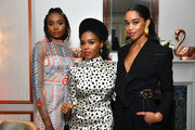 (L-R) Kiki Layne, Janelle Monáe, and Laura Harrier attend Alfre Woodard's 11th Annual Sistahs' Soirée Presented by Morgan Stanley With Absolut Elyx on February 05, 2020 in Los Angeles, California.