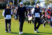 (L-R) United States team captain Tom Watson, Keegan Bradley of the United States and Phil Mickelson of the United States walk to the 1st tee during the Morning Fourballs of the 2014 Ryder Cup on the PGA Centenary course at the Gleneagles Hotel on September 26, 2014 in Auchterarder, Scotland.