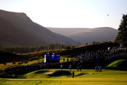 The first group of Justin Rose and Henrik Stenson of Europe and Bubba Watson and Webb Simpson of the United States on the 2nd green during the Morning Fourballs of the 2014 Ryder Cup on the PGA Centenary course at the Gleneagles Hotel on September 26, 2014 in Auchterarder, Scotland.