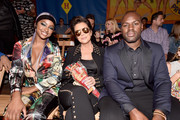 (L-R) Justine Skye, Kris Jenner, and Corey Gamble attend the Moschino Spring/Summer 19 Menswear and Women's Resort Collection at Los Angeles Equestrian Center on June 8, 2018 in Burbank, California.