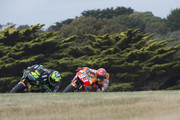 Pol Espargaro of Spain and Monster Yamaha Tech 3 leads Marc Marquez of Spain and Repsol Honda Team during free practice for the 2015 MotoGP of Australia at Phillip Island Grand Prix Circuit on October 16, 2015 in Phillip Island, Australia.