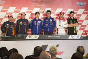 (L-R) Dani Pedrosa of Spain and Repsol Honda Team, Marc Marquez of Spain and Repsol Honda Team, Jorge Lorenzo of Spain and Movistar Yamaha MotoGP, Valentino Rossi of Italy and Movistar Yamaha MotoGP, Andrea Iannone of Italy and Ducati Team and Bradley Smith of Great Britain and Monster Yamaha Tech 3 pose. during the press conference pre-event during the MotoGP Netherlands - Preview at  on June 24, 2015 in Assen, Netherlands.