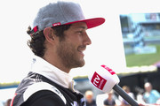 "Bruno Senna  of Brasile speaks with journalists durin the pre-event ""A race between a Yamaha M1 and a McLaren GT3"" during the MotoGP Netherlands - Preview on June 22, 2017 in Assen, Netherlands."