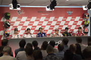 (L-R) Dani Pedrosa of Spain and Repsol Honda Team, Cal Crutchlow of Great Britain and LCR Honda, Valentino Rossi of Italy and Movistar Yamaha MotoGP, Marc Marquez of Spain and Repsol Honda Team, Johann Zarco of France and Monster Yamaha Tech 3 and  Jorge Lorenzo of Spain and Ducati Team look on during the press conference pre-event during the MotoGP Netherlands - Previews on June 28, 2018 in Assen, Netherlands.