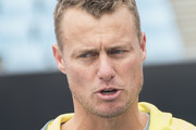 Lleyton Hewitt of Australia (Australian Davis Cup captain)  speaks with journalists during the MotoGP of Australia - Previews during a media call ahead of the 2018 MotoGP of Australia at  on October 24, 2018 in Melbourne, Australia.