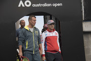 Jack Miller of Australia and Alma Pramac Racing  and  Lleyton Hewitt of Australia (Australian Davis Cup captain) (L) arrive during the MotoGP of Australia - Previews during a media call ahead of the 2018 MotoGP of Australia at  on October 24, 2018 in Melbourne, Australia.