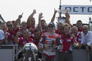 Jorge Lorenzo of Spain and Ducati Team celebrates the MotoGP pole position with team at the end of the qualifying practice during the MotoGP of San Marino - Qualifying at Misano World Circuit on September 8, 2018 in Misano Adriatico, Italy.