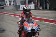 Jorge Lorenzo of Spain and Ducati Team returns in box during the MotoGP of San Marino - Qualifying at Misano World Circuit on September 8, 2018 in Misano Adriatico, Italy.