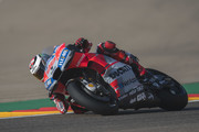 Jorge Lorenzo of Spain and Ducati Team rounds the bend during the MotoGP of Aragon - Free Practice at Motorland Aragon Circuit on September 21, 2018 in Alcaniz, Spain.
