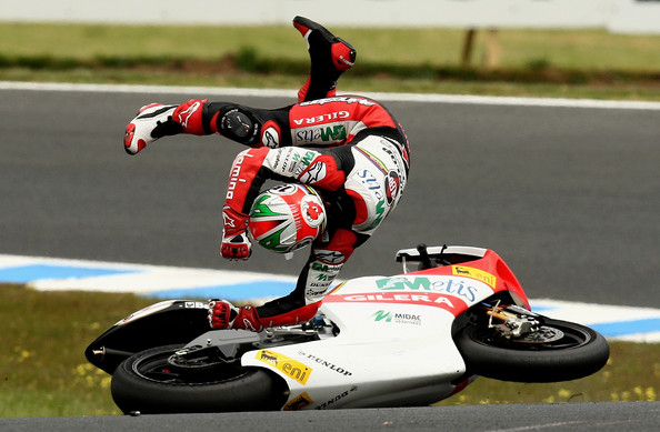 Roberto Locatelli Roberto Locatelli of Italy and the Metis Gilera Team crashes during the 250cc race at the Australian MotoGP, which is round 15 of the MotoGP World Championship, at Phillip Island Grand Prix Circuit on October 18, 2009 in Phillip Island, Australia.