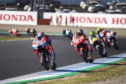 Andrea Dovizioso of Italy and Ducati Team leads the field during the MotoGP race during the MotoGP of Japan - Race at Twin Ring Motegi on October 21, 2018 in Motegi, Japan.