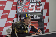 Marc Marquez of Spain and Repsol Honda Team celebrates the MotoGP victory and become the 2018 MotoGP champ (Seven title) and smiles during the press conference at the end of the MotoGP race during the MotoGP of Japan - Race at Twin Ring Motegi on October 21, 2018 in Motegi, Japan.