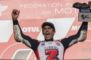 Marc Marquez of Spain and Repsol Honda Team celebrates the MotoGP victory and becoming the 2018 MotoGP champion at the end of the MotoGP race on the podium during the MotoGP of Japan - Race at Twin Ring Motegi on October 21, 2018 in Motegi, Japan.