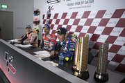 (L-R)  Marc Marquez of Spain and Repsol Honda Team,  Andrea Dovizioso of Italy and Ducati Team and look on during the press conference at the end of the MotoGP race during the MotoGP of Qatar - Race at Losail Circuit on March 18, 2018 in Doha, Qatar.