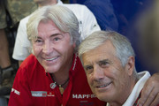Giacomo Agostini (R) of Italy  during the presentation of his new book with Angel Nieto of Spain during MotoGP of San Marino - Free Practice at Misano World Circuit on September 13, 2013 in Misano Adriatico, Italy.