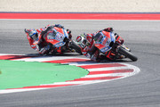 Jorge Lorenzo of Spain and Ducati Team leads Andrea Dovizioso of Italy and Ducati Team  during the MotoGP race during the MotoGP of San Marino - Race at Misano World Circuit on September 9, 2018 in Misano Adriatico, Italy.