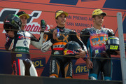 Pol Espargaro of Spain and Pons 40 HP Tuenti,  Marc Marquez of Spain and Team Catalunya Caixa Repsol   and Andrea Iannone of Italy and Speed Master pose on the podium at the end of the Moto2 race of the MotoGP of San Marino at Misano World Circuit on September 16, 2012 in Misano Adriatico, Italy.