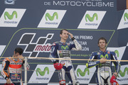 (L-R) Dani Pedrosa of Spain and Repsol Honda Team, Jorge Lorenzo of Spain and Movistar Yamaha MotoGP and Valentino Rossi of Italy and Movistar Yamaha MotoGP celebrate on the podium at the end of the MotoGP race during the MotoGP of Spain - Race at Motorland Aragon Circuit on September 27, 2015 in Alcaniz, Spain.