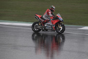 Jorge Lorenzo of Spain and Ducati Team  rounds the bend during the qualfying practice during the MotoGp Of Great Britain - Qualifying at Silverstone Circuit on August 25, 2018 in Northampton, England.