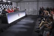 (L-R) Francesco Bagnaia of Italy and Sky Racing Team VR46,  Andrea Dovizioso of Italy and Ducati Team, Jorge Lorenzo of Spain and Ducati Team and Johann Zarco of France and Monster Yamaha Tech 3 and Jorge Martin of Spain and Del Conca Gresini Moto look on  during the press conference at the end of the qualfying practice during the MotoGp Of Great Britain - Qualifying at Silverstone Circuit on August 25, 2018 in Northampton, England.