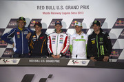 (L-R) Valentino Rossi of Italy and Yamaha Factory Racing, Marc Marquez of Spain and Repsol Honda Team,  Stefan Bradl of Germany and LCR Honda MotoGP, Alvaro Bautista of Spain and Go&Fun Honda Gresini  and Cal Crutchlow of Great Britain and Monster Yamaha Tech 3 pose during the press conference at the end of the MotoGp Red Bull U.S. Grand Prix - Qualifying at Mazda Raceway Laguna Seca on July 20, 2013 in Monterey, California.